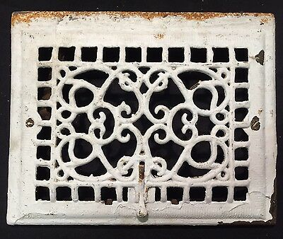 "#6 ANTIQUE ORNATE CAST IRON FLOOR WALL REGISTER GRATE 14.5"" x 11.5"" STUNNING"