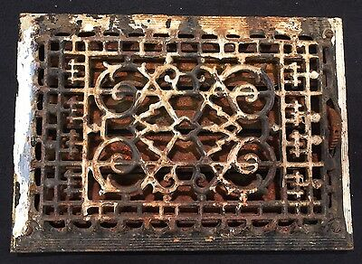 "#9 ANTIQUE ORNATE CAST IRON FLOOR WALL REGISTER GRATE 13""x9.25"" w/ Louvers"