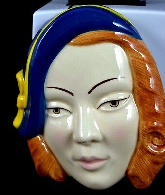 *** Superb Art Deco Moorland Pottery Face Wall Mask ***