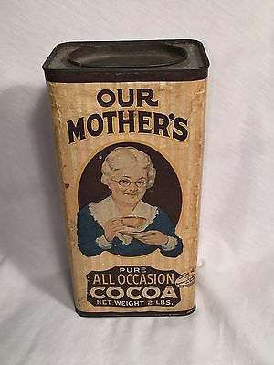 Vintage Advertising Our Mothers All Occasion Cocoa Tin- Cardboard - Rare 2 lb