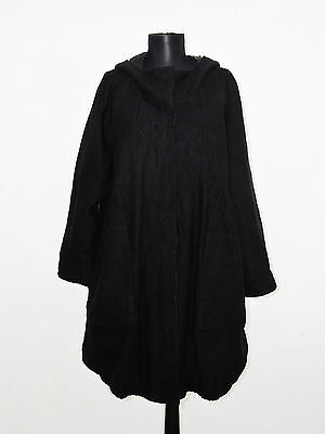 MASAI Clothing Company Women's Black WOOL Hooded OVERSIZE Trench Coat Size: S