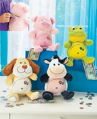 New Cute Cuddly Soft Stuffed Animals Plush Coin Money Bank With Sound 1 Animal