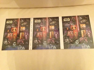 Star Wars -Rare USA Uncut 3 Press Sheets of Stamps- 45 Star Wars mint stamps