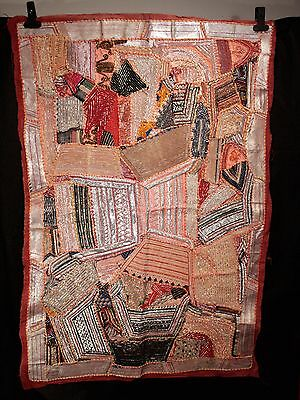 Vintage Decorative Indian Wall Hanging Tapestry Metallic Embroidery & Patchwork