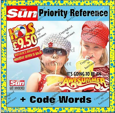 ☀The Sun Priority £9.50 Holiday Reference Code & 10 TOKENS ☀ words book Online☀