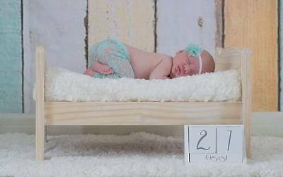 Newborn Mint Lace Stretch Leggings & Headband Set Photography Photo Prop Baby