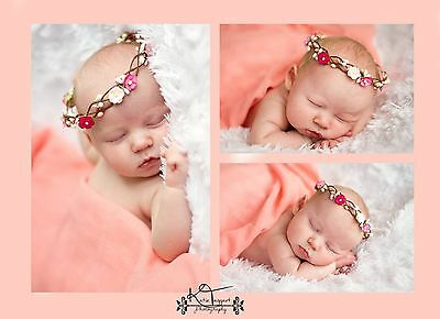 Handmade Pink Floral Crown Flower Girl or Photography Photo Prop Newborn Baby