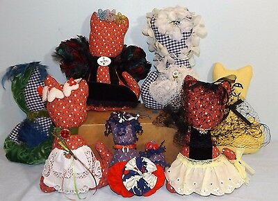 Lot 7 Hand Made Calico Stuffed Country Decor Animals Kitty Cats