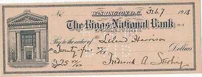 Frederick Augustine Sterling- Signed bank check from 1918