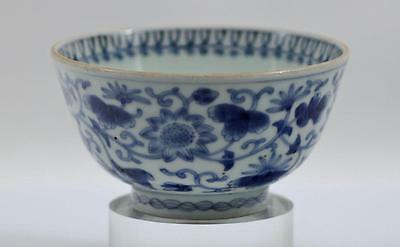 Antique 19th Century Porcelain Chinese Footed Blue & White Lotus Bloom Bowl NR