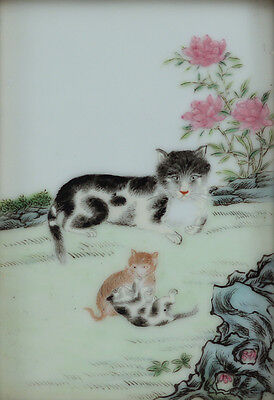 Circa 1800s Famille Rose Porcelain Chinese Painted Cat w Kittens Tile Plaque