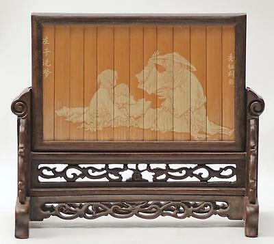 Antique Intricately Carved Painted Bamboo Rosewood Chinese Figural Table Screen