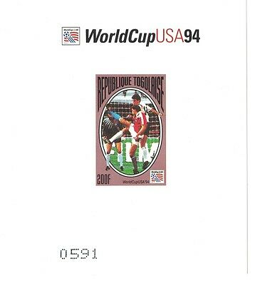 Togo - 1994 World Cup Soccer - Sc 1603-10 Set of 8 MNH IMPERFORATE thick paper