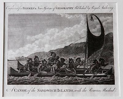 Canoe of The Sandwich Islands – Hawaii - 18th Century Engraving - Captain Cook