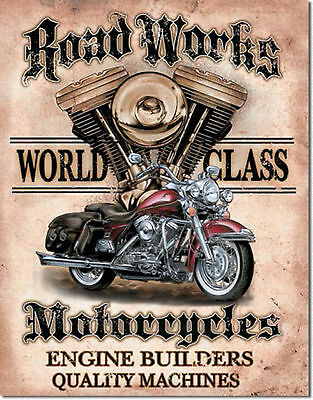 """Road Works"" Motorcycle, Vintage, Retro,Tin Sign, Gas Oil, Rat Rod, Street Rod"