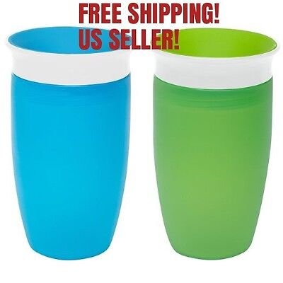 NEW Munchkin Miracle 360 Sippy Cup, Green/Blue, 10 Ounce, 2 Count, FREE SHIPPING