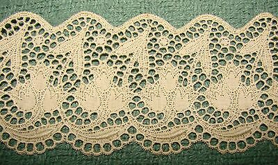 Vintage Broderie Anglaise Lace Trim - Unusual Design - 3+ Yards Bell Flowers