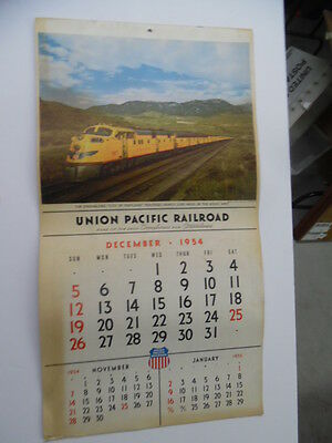 1955 Union Pacific Railroad Advertising Wall Calendar Domeliner Steamliner Era
