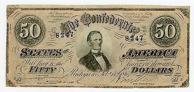 1864 T-66 $50 Confederate Note - CIVIL WAR Era