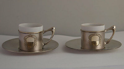 Elegant Pr Of Solid Silver Coffee Cans / Esspresso Cups With Saucers