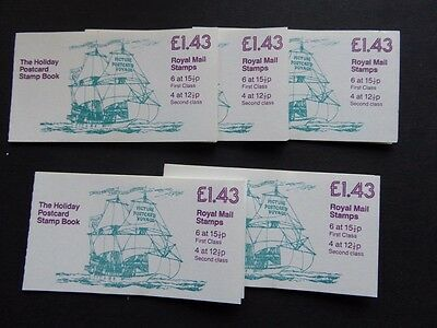 Gb 1982 £1.43 Postcards Folded Booklets X5 Sg Fn3