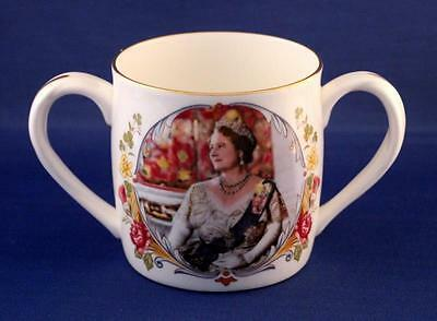 Crown Staffordshire China Loving Cup Celebrating Queen Mother's 80th Birthday