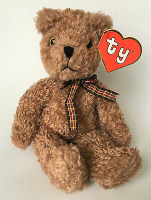 "Ty 1992 Classic Plush Baby Curly Tan Chenille 11"" Teddy Bear Red Plaid Ribbon"