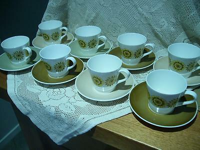 Royal Tuscan Bone China Retro Demitasse Set For 8 - Seasons - Very Good Cond