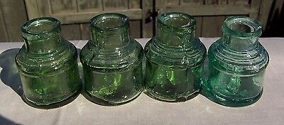 4- c1890 ENGLISH GLASS INK BOTTLES- STUNNING GREEN COLOURS.
