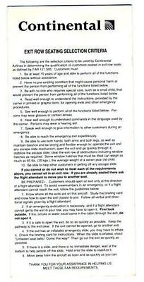 Continental Exit Row Seating Selection Criteria Card 1991