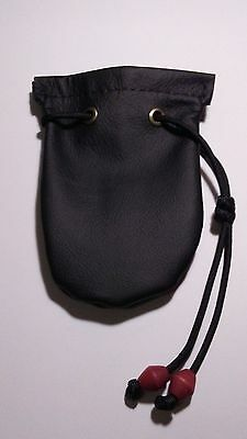 Leather Drawstring Pouch (Black)