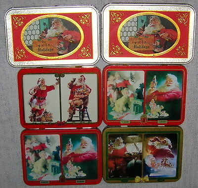 Lot of 6 Christmas Santa Coca-Cola Tins of Playing Cards