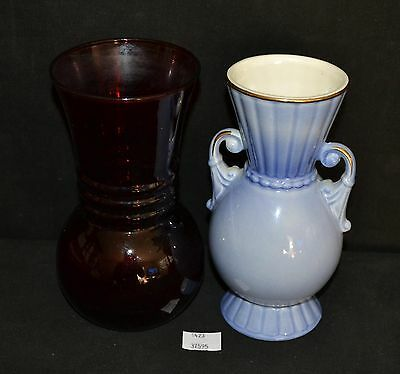 ThriftCHI ~ Royal Copley Ceramic Two Handled Vase & Red Glass Vase