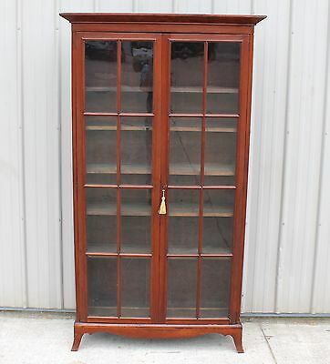 1850s 60s HEPPLEWHITE 16 PANE CHERRY BOOKCASE CHINA COLLECTION CABINET CUPBOARD