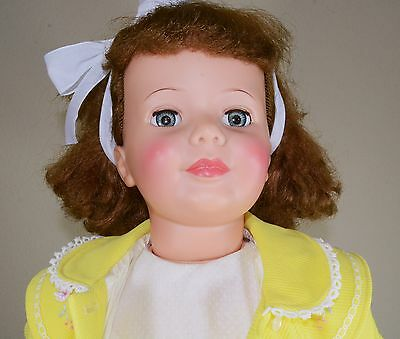 """Ideal Pattie Playpal Doll Auburn Curly Top Hair with Blue Green Eyes 35"""""""