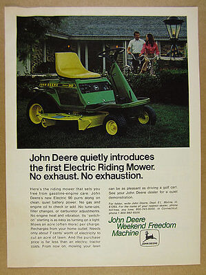1972 John Deere ELECTRIC 90 Riding Mower color photo vintage print Ad