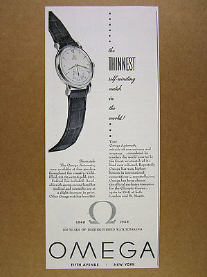 1948 Omega Automatic Watch 'the Thinnest' wristwatch art vintage print Ad