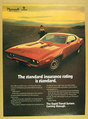 1971 Plymouth ROAD RUNNER 383 red car photo vintage print Ad