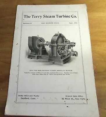 Rare 1911 THE TERRY STEAM TURBINE CO. GAS BLOWER DATA Booklet