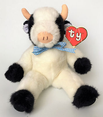 "Ty 1992 Classic Plush Baby Clover 11"" Cow Sitting Black & White 2nd Generation"