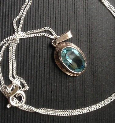 Sterling Silver And Topaz Necklace Pendant 925 Solid