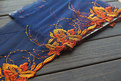 High Quality Orange Floral Lace Trim Embroidery Tulle  Lace Trim 6.88 Inch X058