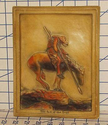 End of the Trail James Earle Fraser Plaster/Ivorex Bas-Relief Wall Plaque VG