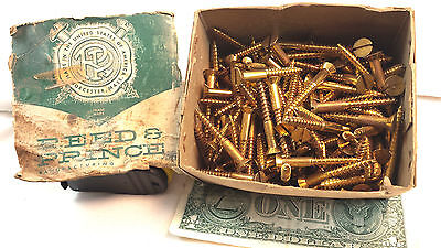 Vintage Brass Slotted Wood Screw Lot Reed Prince Hardware 2 Inch 1/2 Head 125Pcs