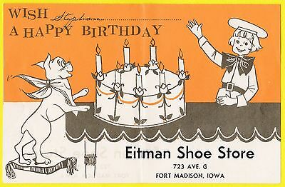 Buster Brown birthday card, given out by Eitman Shoe Store, Ft. Madison Iowa IA