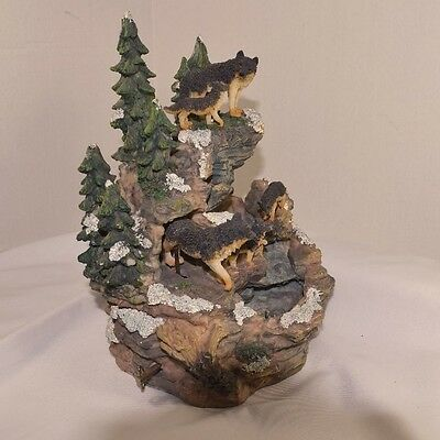 Musical Wolf Family Water Fountain RARE