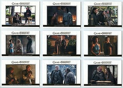 2016 Game Of Thrones Season 5 - RELATIONSHIPS - complete GOLD chase set /225