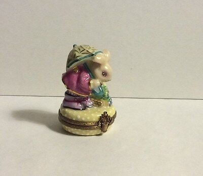 France Limoges Hand Painted Chamart Bunny Rabbit with Umbrella Trinket Box