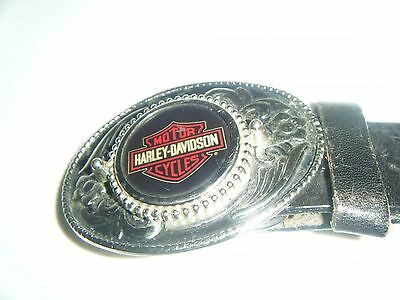Harley Davidson Motor Cycles Metal Buckle Brown Leather Belt Size M