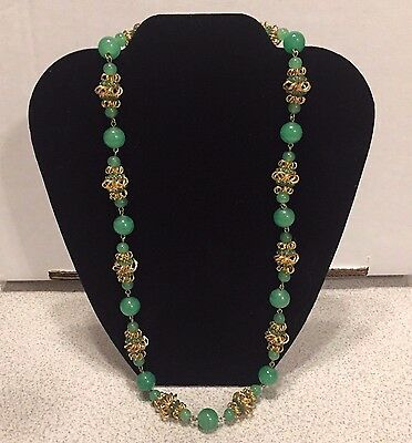 Vintage Vendome Green Glass Bead & Gold Tone Necklace